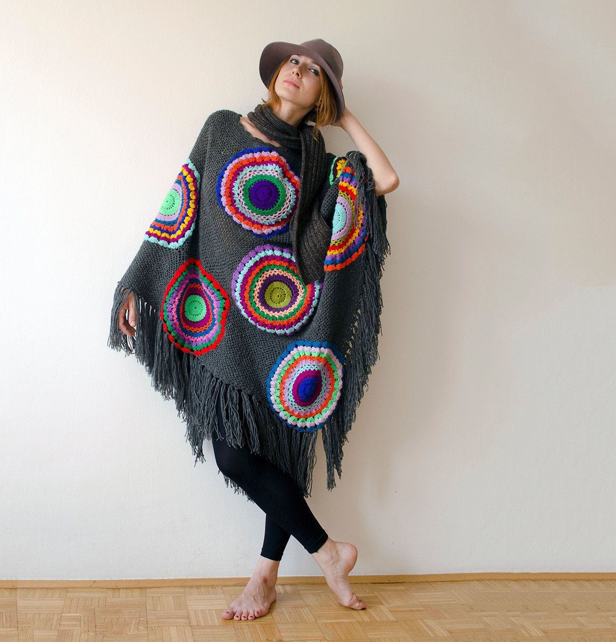 Poncho, Plus Size, Woolen Cape, Women, Grey Gray with Multicolored ...