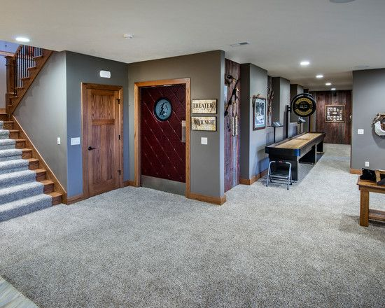 Exciting Conventional Basement With Gray Fur Basement Carpet Ideas With  Comely Wall To Wall Carpeting