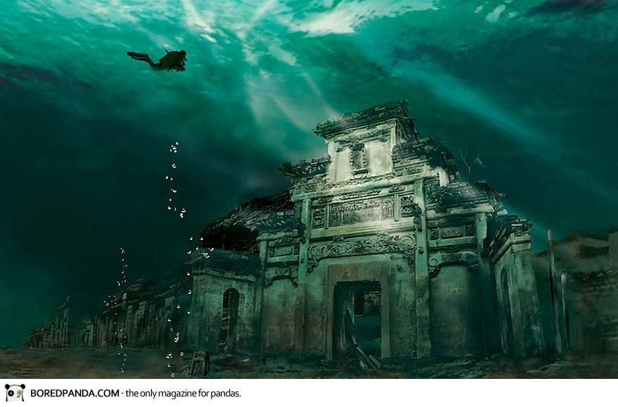 Underwater City In Shicheng China This Incredible Underwater City Trapped In Time Is 1341 Years Old Shicheng Underwater City Abandoned Places Sunken City