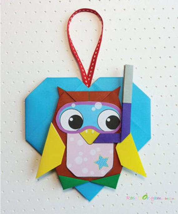 Photo of Origami Owl with Heart Ornament Download Digital File Origami Pattern PDF Instant Download Origami Owl Origami Instruction