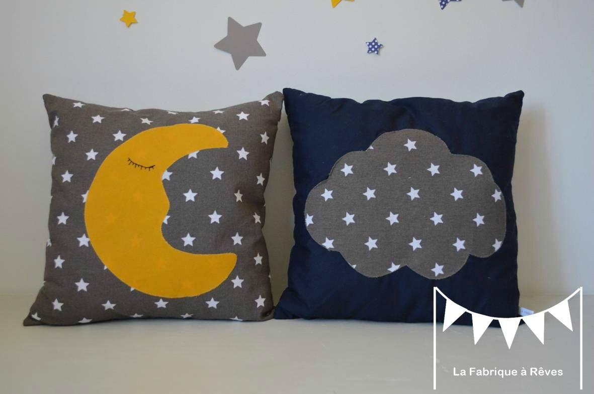 coussins lune nuage jaune bleu marine taupe blanc - décoration ...