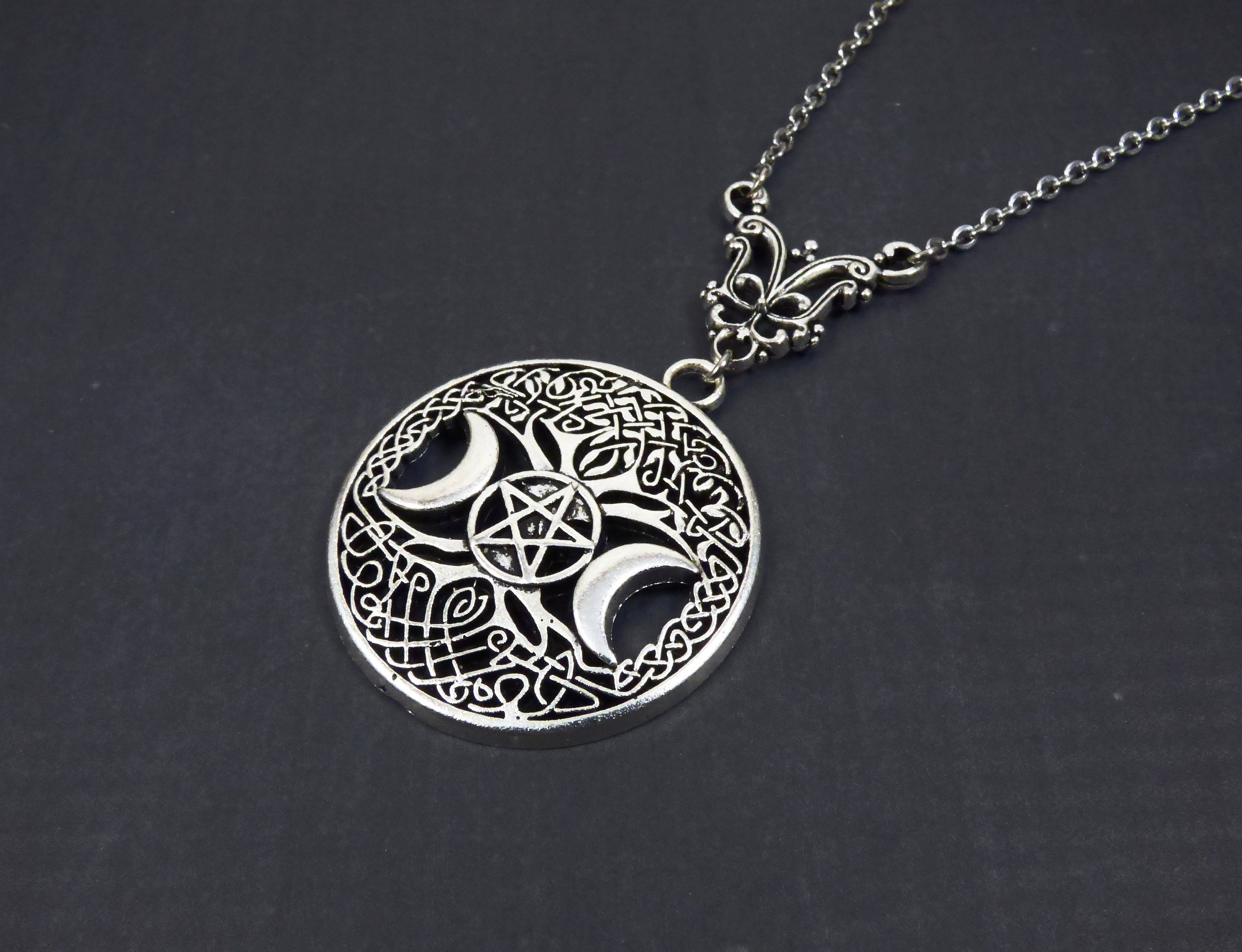wiccan amulet triune goddess necklace moon phase necklace lunar cycle pendant Pagan Jewelry Sterling Silver Wiccan triple moon necklace