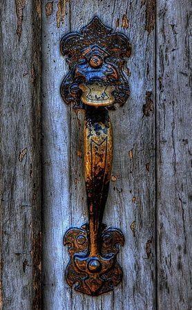 Timeworn door handle.