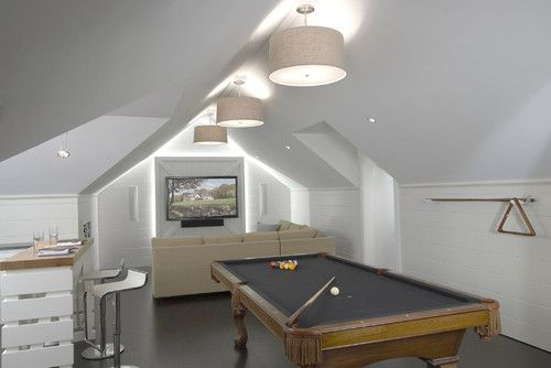 great lighting idea for angled ceilings