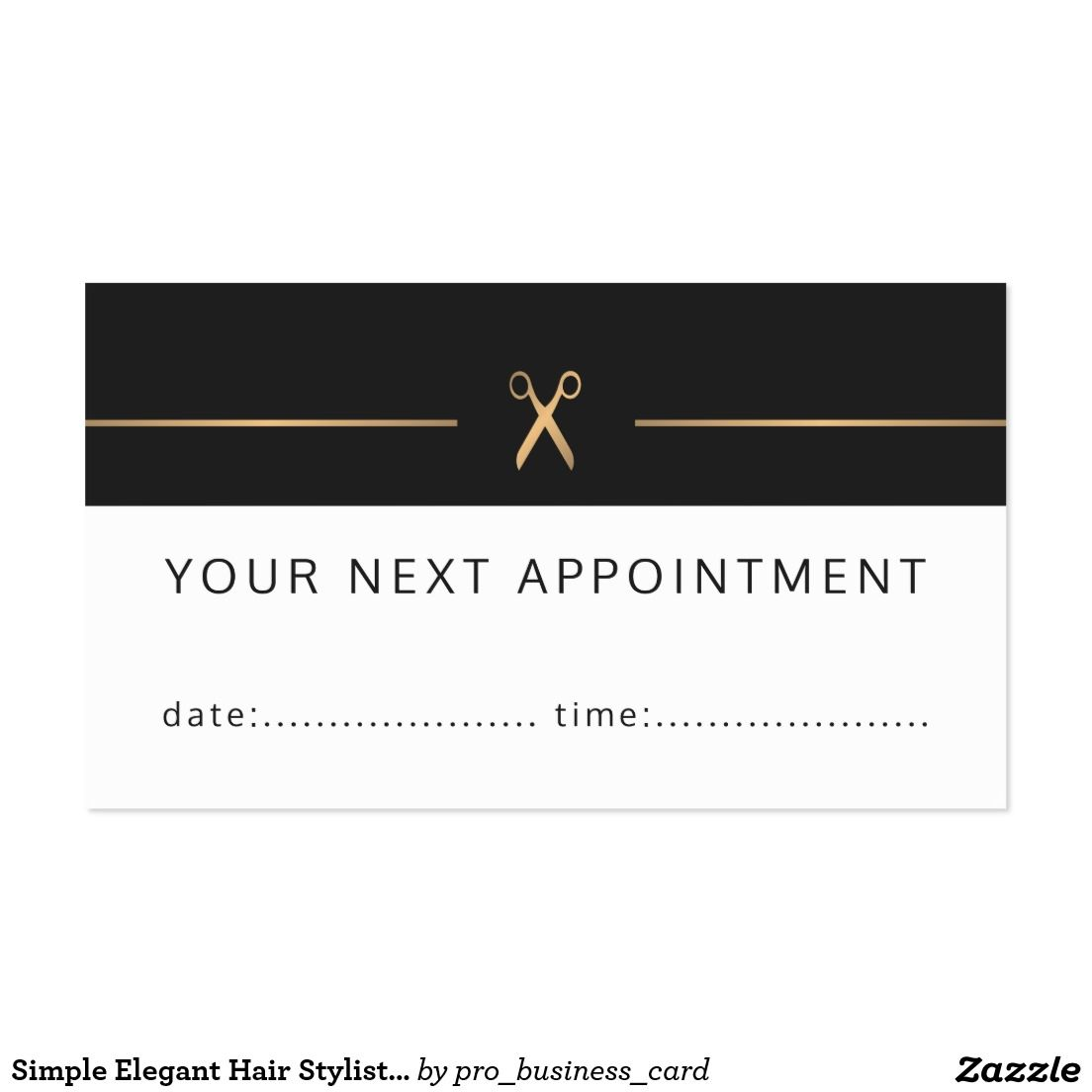Simple Elegant Hair Stylist Appointment Card Appointment