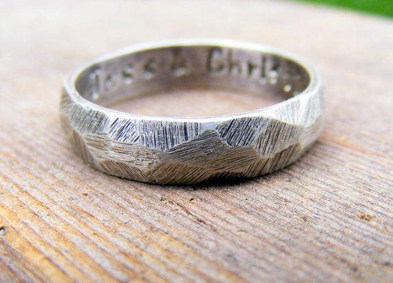 Palladium Sterling Silver Wedding Band Rustic Mens Or Womens Hammered Oxidized Ring Darkened Gunmetal Look