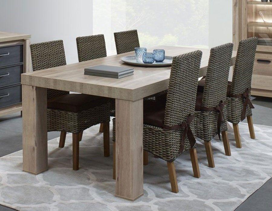 Table à manger contemporaine couleur chêne CONOR Table