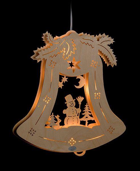 3D Fensterbild Glocke Schneemann | Holz basteln weihnachten