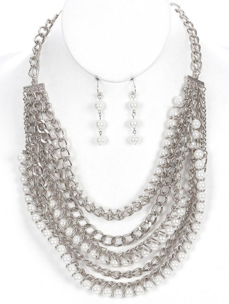 Necklace And Earring Set Multi Chain Pearl Bib Link Fish Hook 18 Inch Long 3 Inch Drop