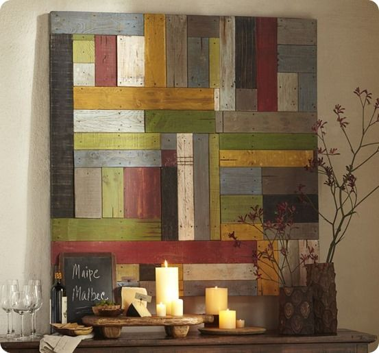 Pallet Wood Wall Art painted pieced woodwork from pottery barn - use as diy inspiration