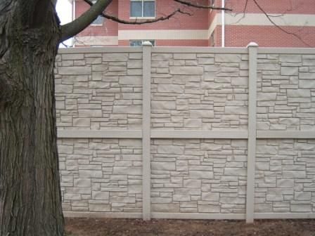 Vinyl stone looking privacy Fence Vinyl Fence Fence