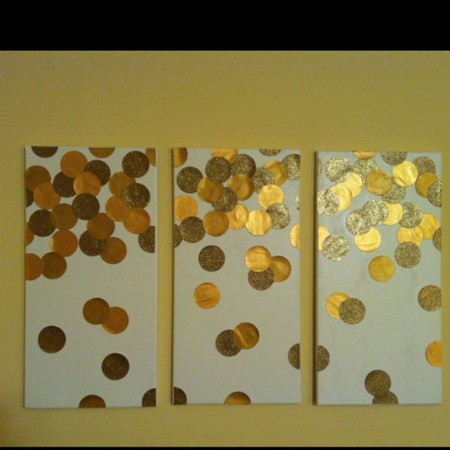 Love my new wall art! Circle punch, gold scrapbook paper, canvases ...