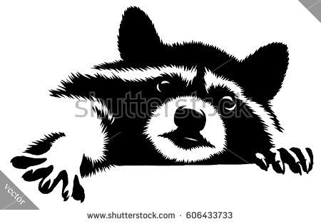 Pin on Animal Silhouettes, Vectors, Clipart, Svg ... Raccoon Face Clip Art Black And White