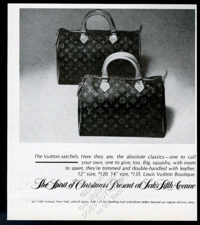 1977 Louis Vuitton Satchel Bag 2 Styles Photo Saks Fifth Avenue Vintage Print Ad