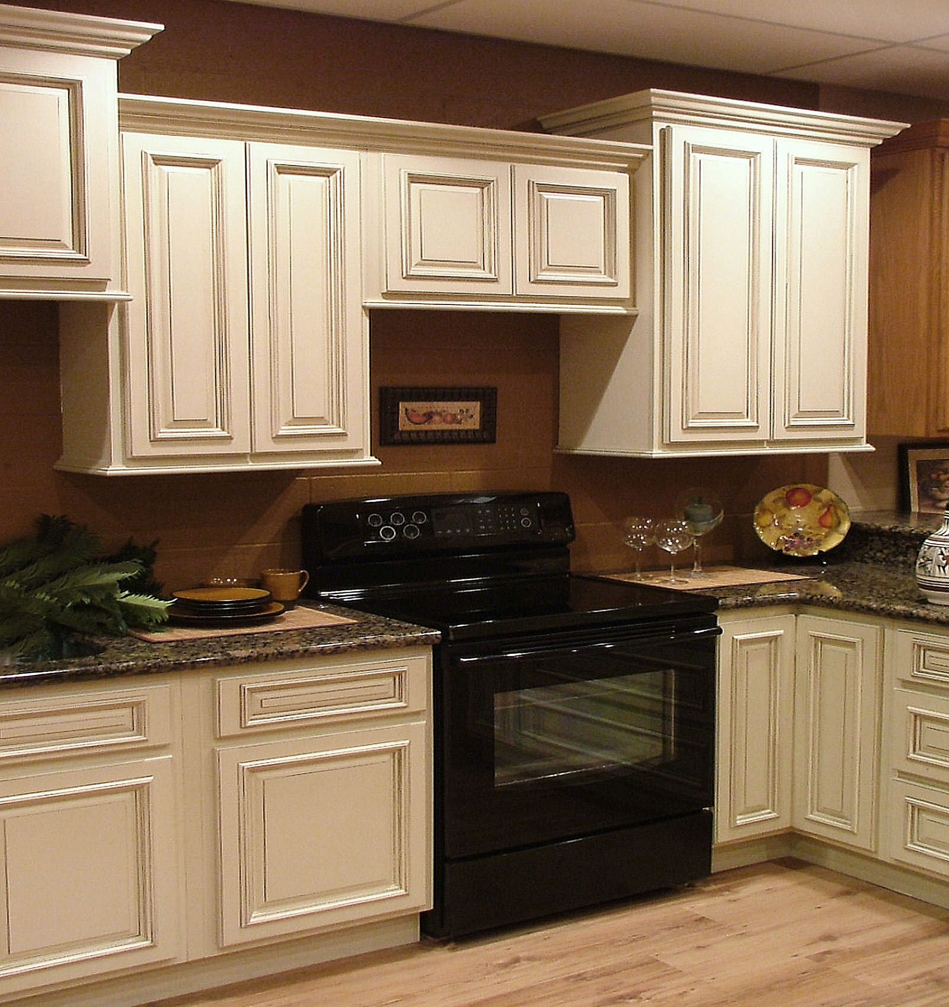 antique white kitchen cabinets with black appliances, Wonderful Wooden Antique White Cabinets As Kitchen