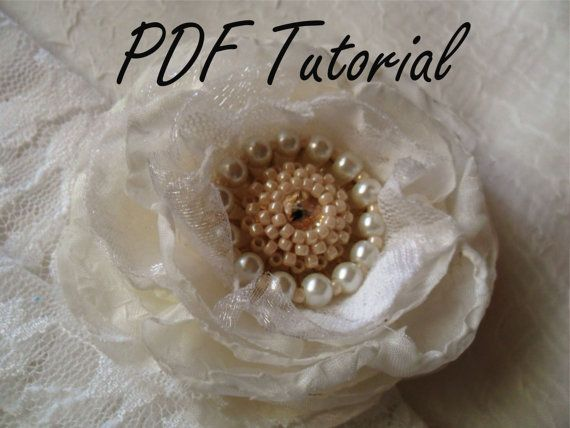 PDF tutorial - Ivory glass pearl and crystal brooch, Fabric flower brooch bouquet component, Bridal sash hair pin decoration
