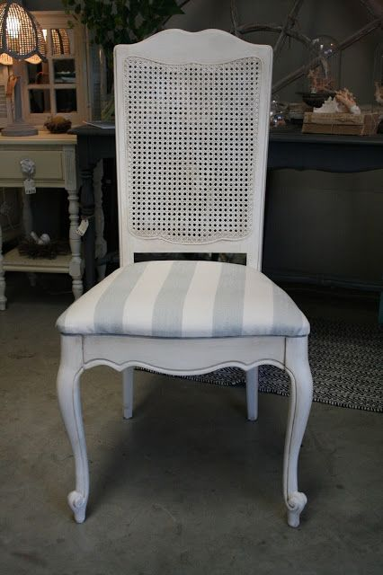 Reloved Rubbish Vintage Cane Back Dining Chair Set White