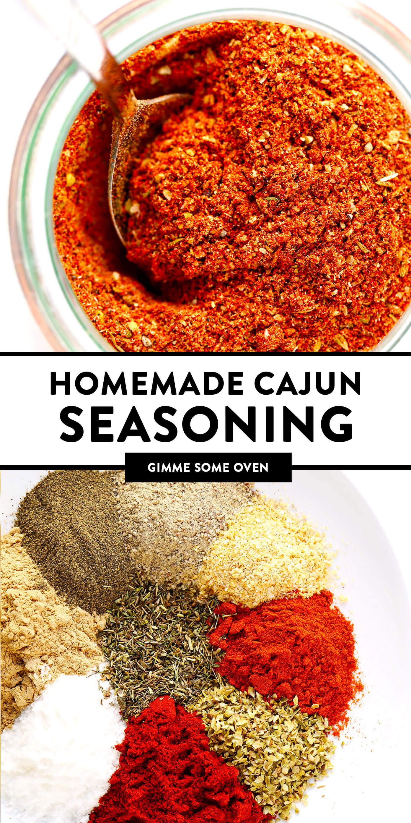The best homemade Cajun Seasoning recipe! It only takes about 5 minutes to make, and tastes great on everything from chicken to shrimp, veggies to tofu, every kind of potato and more. Use it in a soup, stir-fry, pasta, kabob, dip, crackers, sheet pan dinner - you name it! It's the bold, zesty, spicy blend that kicks any dish up a delicious notch. | Gimme Some Oven #cajun #seasoning #spice #blend #spicy #glutenfree #homemade