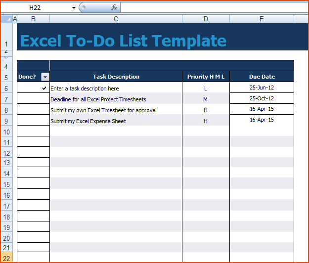 8+ Excel To Do List Template