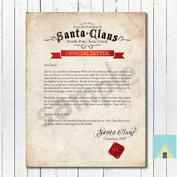 letter from santa by athomeprintables on etsy christmas kid fun