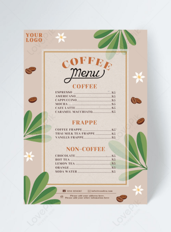 Plant Nature Cafe Menu Design In 2020 Cafe Menu Design Menu Design Web App Design