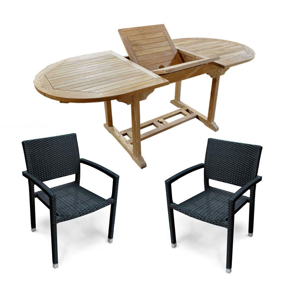 Salon 6 places en teck brut 120-180 cm et 6 fauteuils en ...
