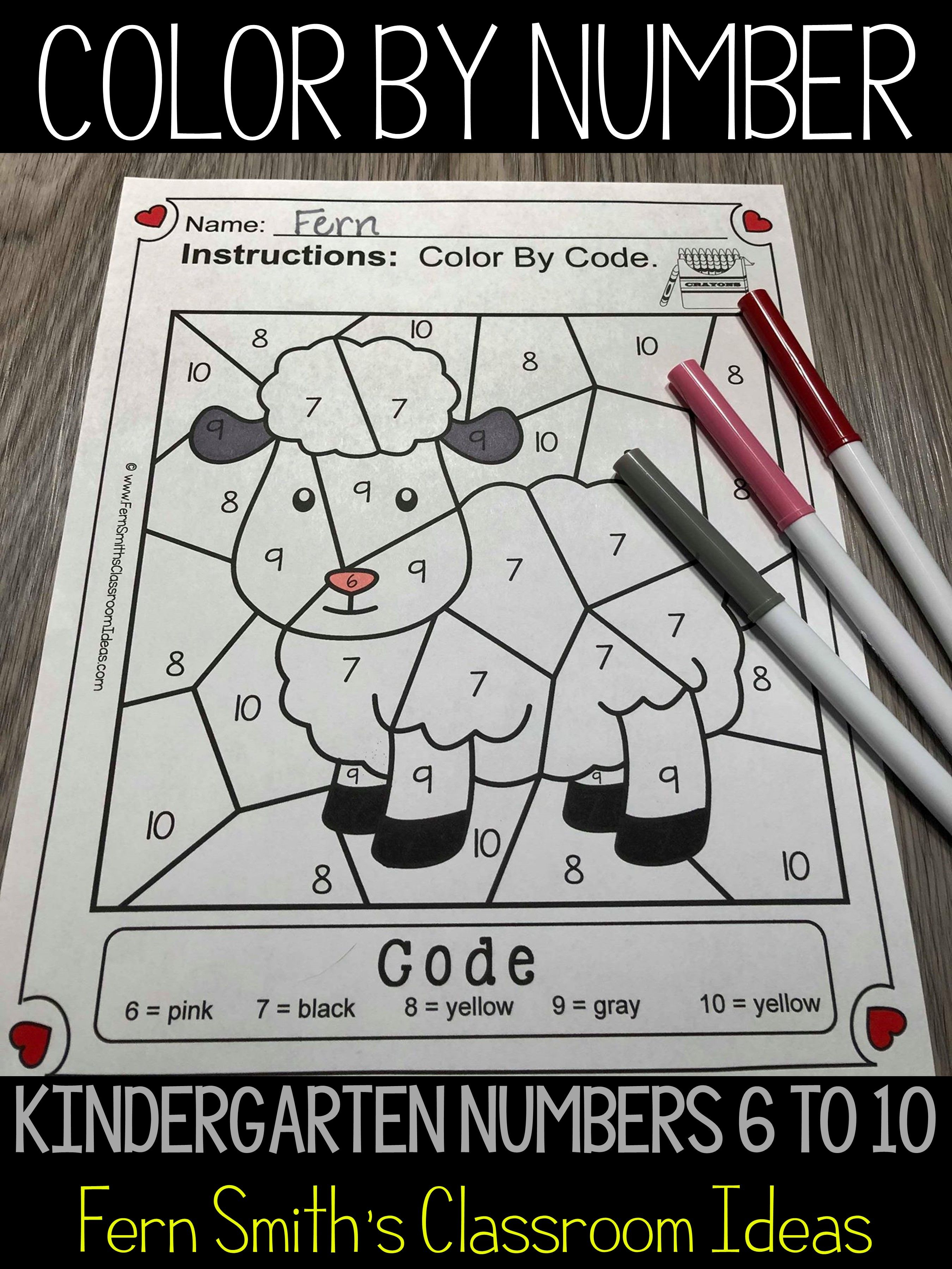 Color By Number For Math Remediation Numbers 6 To 10 Baa