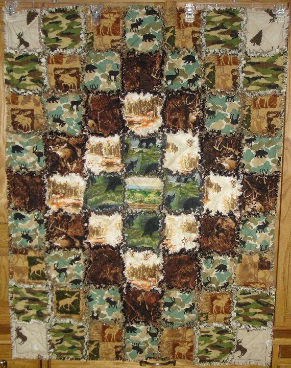 Handmade rag quilt baby blanket camo hunter big game deer antlers ... : woolrich quilted blanket - Adamdwight.com