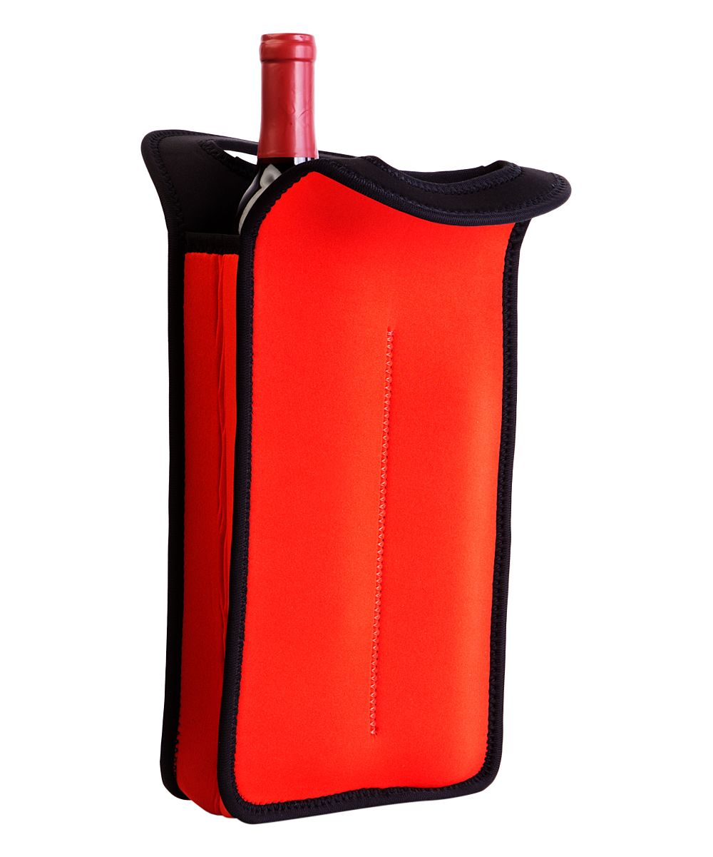 Red Neoprene Insulated Double Bottle Tote