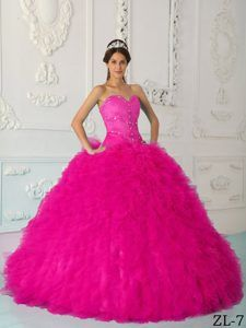 c4fac369756 Satin and Organza Cute Hot Pink Quinceanera Gown with Sweetheart ...