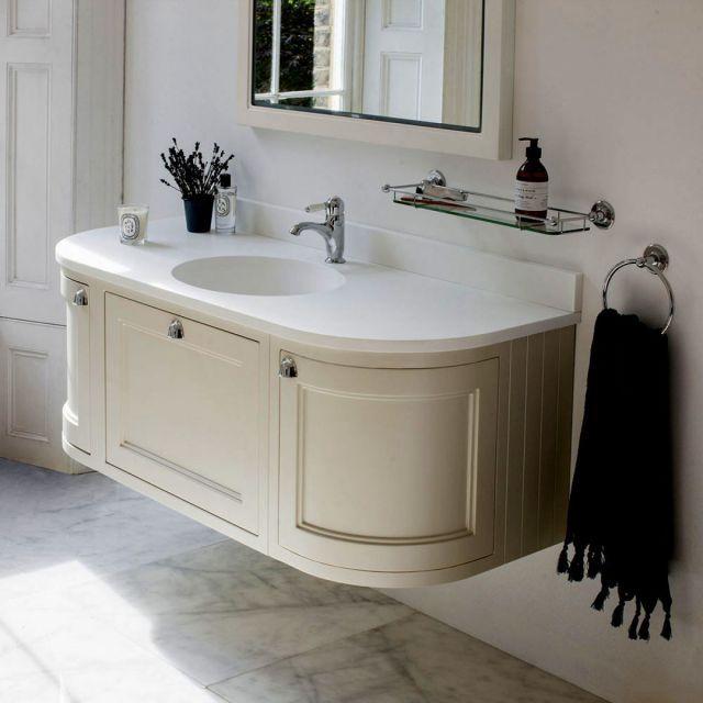 Burlington 134cm Curved Wall Hung Vanity With Worktop Wall Hung Vanity Traditional Bathroom Wall Hung Bathroom Vanities