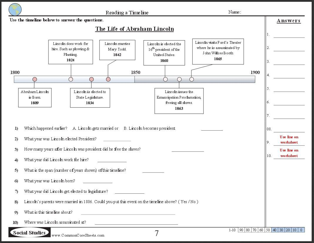Free Timeline Worksheets Check Out These  Free Ccss Worksheets