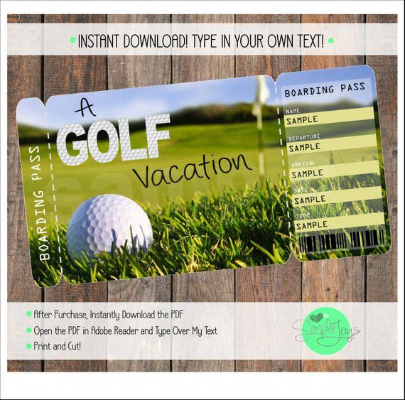 Printable Ticket For A Golf Vacation Boarding Pass Customizable