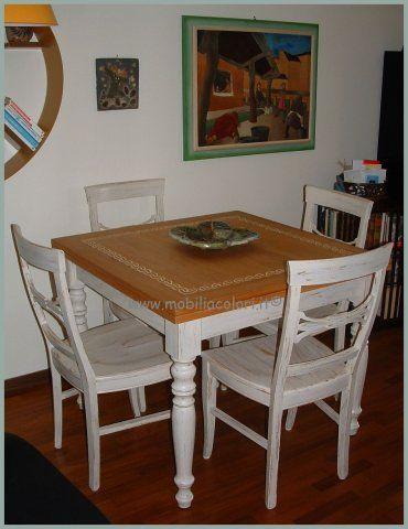 Tavolo Quadrato A Libro.Sala Pranzo Con Tavolo Quadrato A Libro Bicolore Stile Shabbychic
