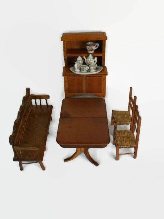 Vintage Miniature Dollhouse Dining Room Furniture Table