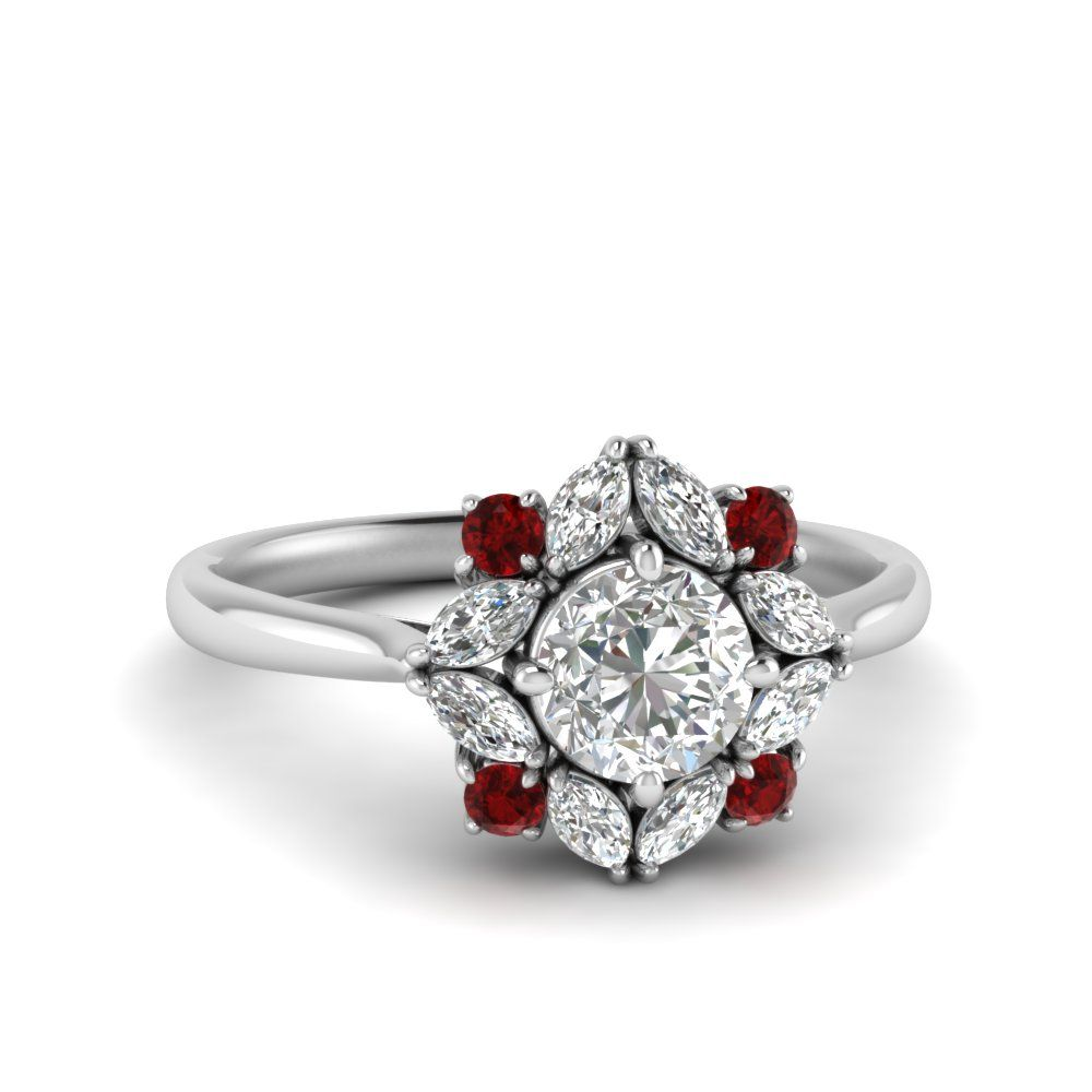 Art deco halo diamond engagement ring with ruby in 14k