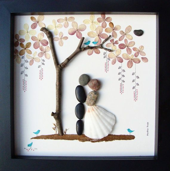 Wedding Gifts For Couples: Unique WEDDING Gift-Personalized Wedding Gift-Pebble Art