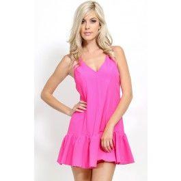 V-Neck Ruffle Hem Dress