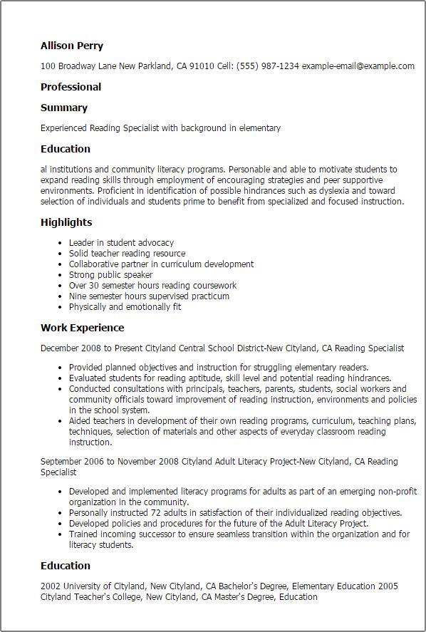 literacy coach resume sample