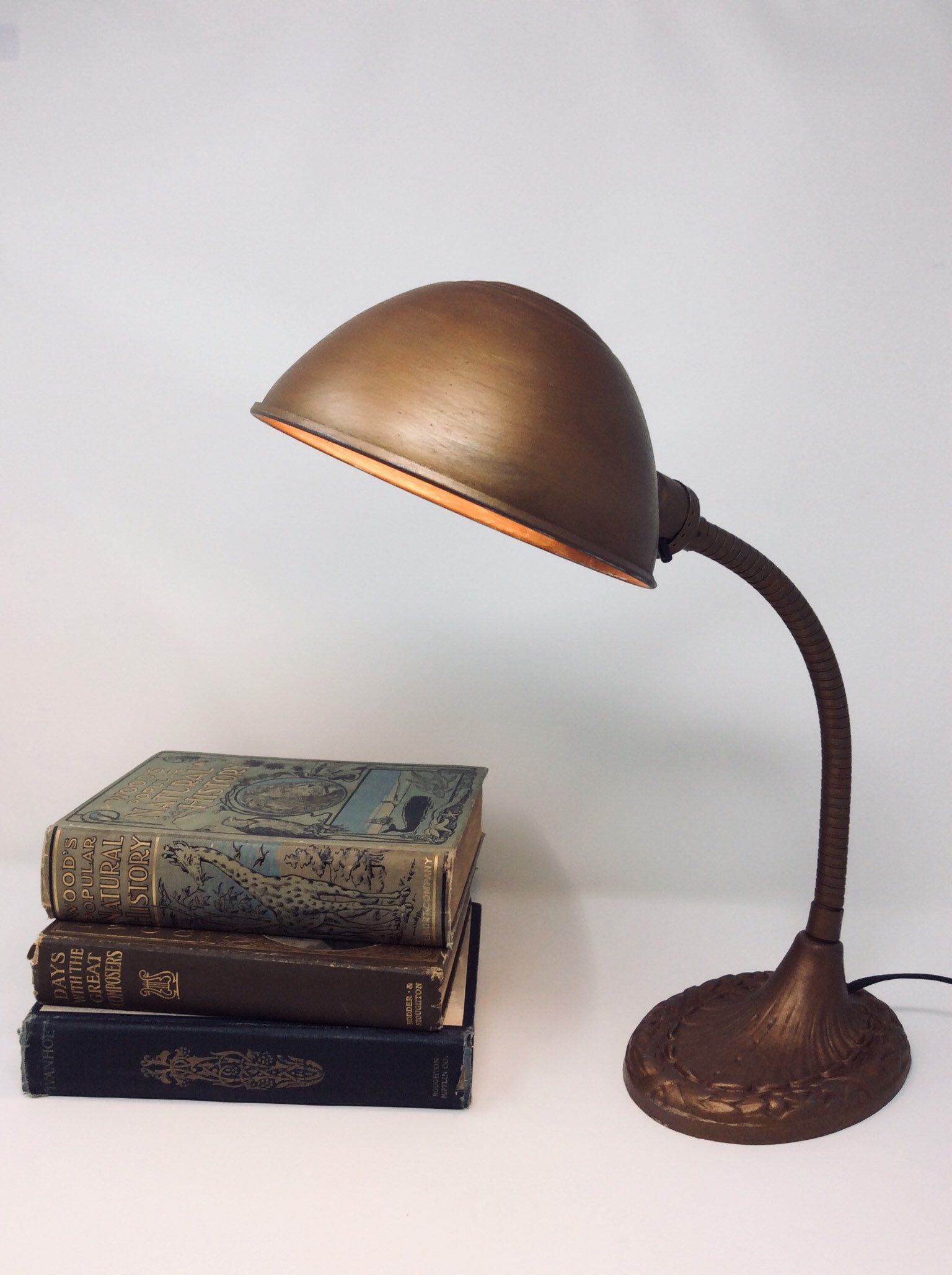 Vintage Gooseneck Desk Lamp 1940s Desk Lamp Lamp Copper Desk Lamps