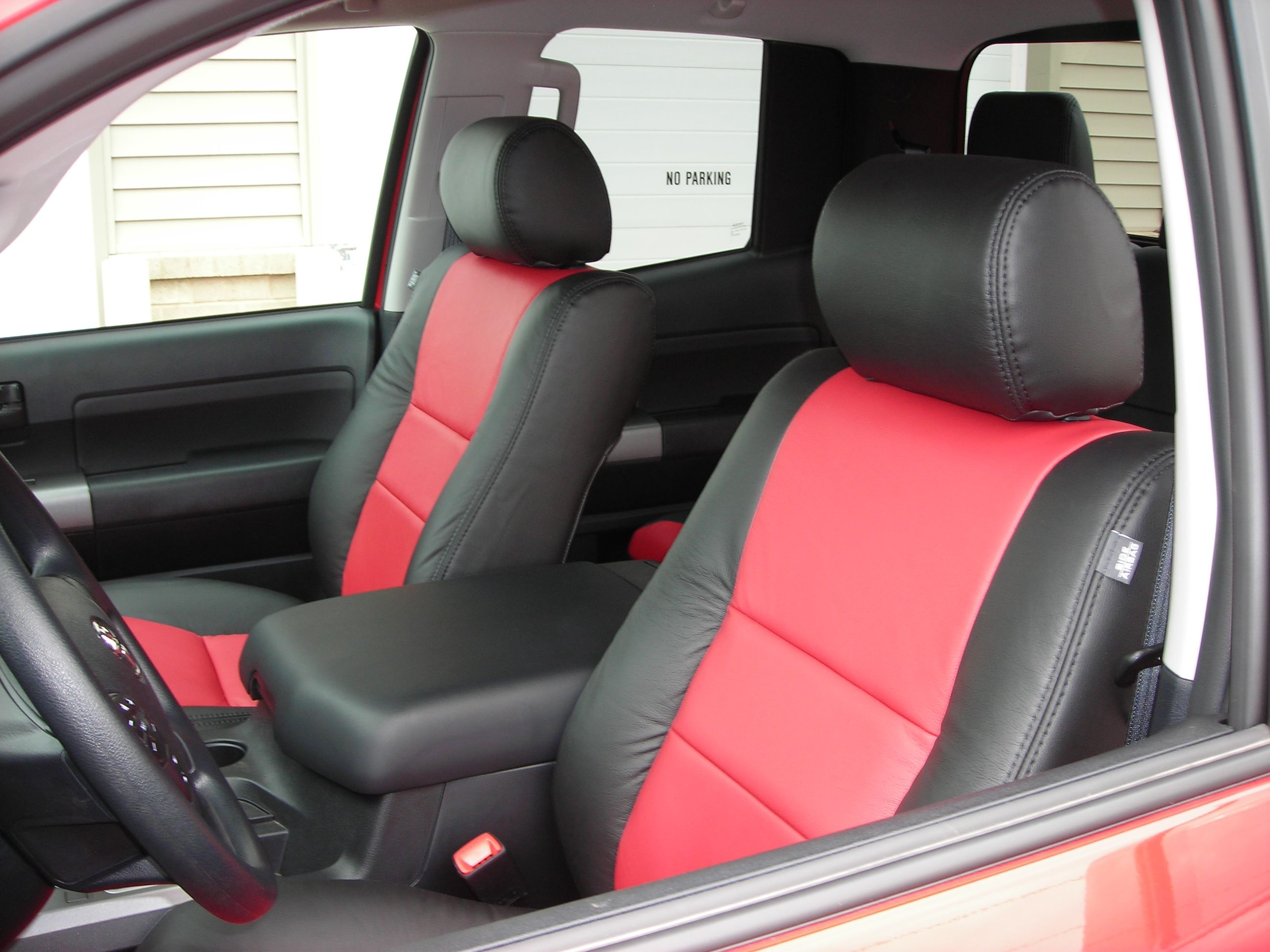sporty red and black custom automotive leather upholstery toyota tundra seats pinterest. Black Bedroom Furniture Sets. Home Design Ideas