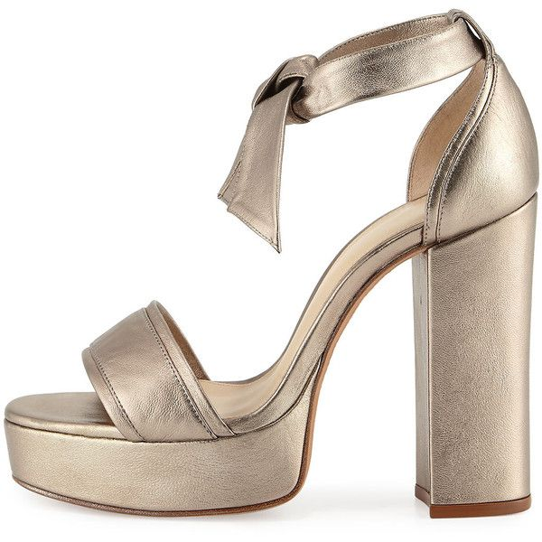 6ea0b794790 Alexandre Birman Celine Platform Metallic Leather Sandal ( 695) ❤ liked on  Polyvore featuring shoes
