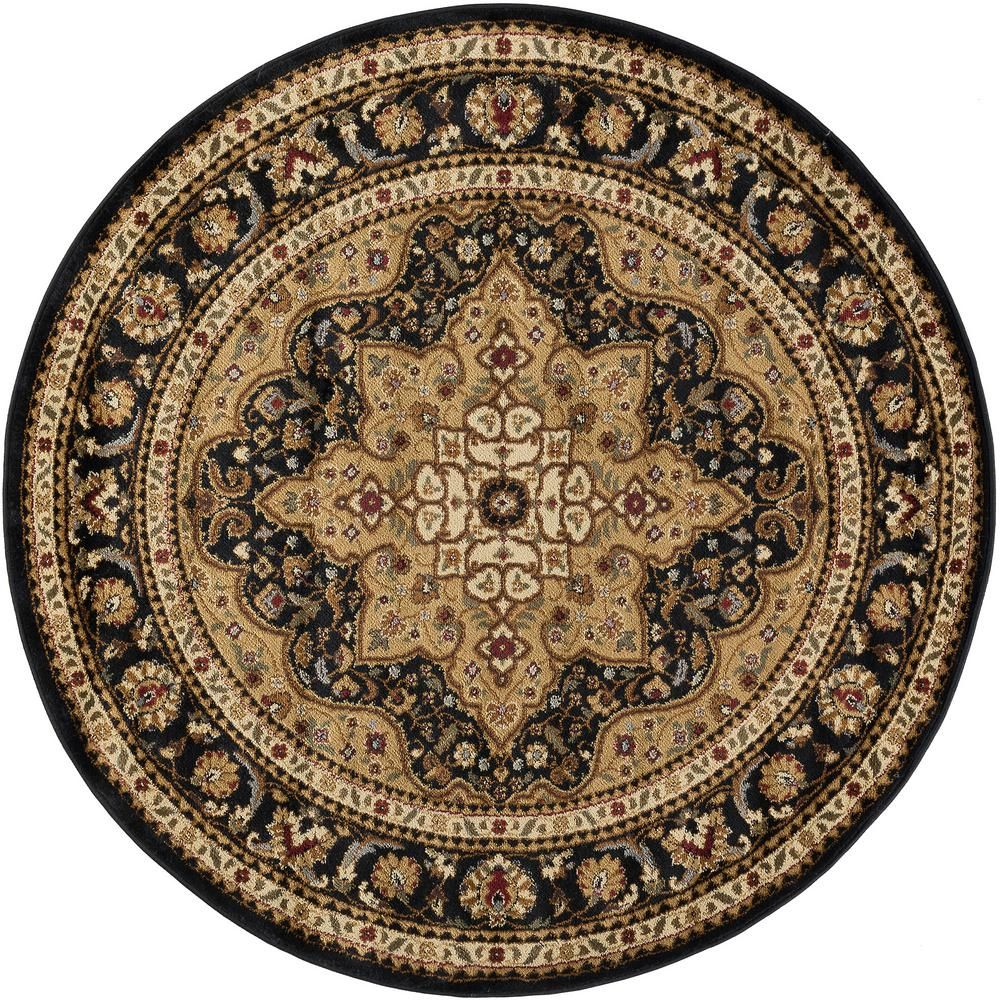 Tayse Rugs Elegance Black 5 Ft X 5 Ft Round Traditional Area Rug