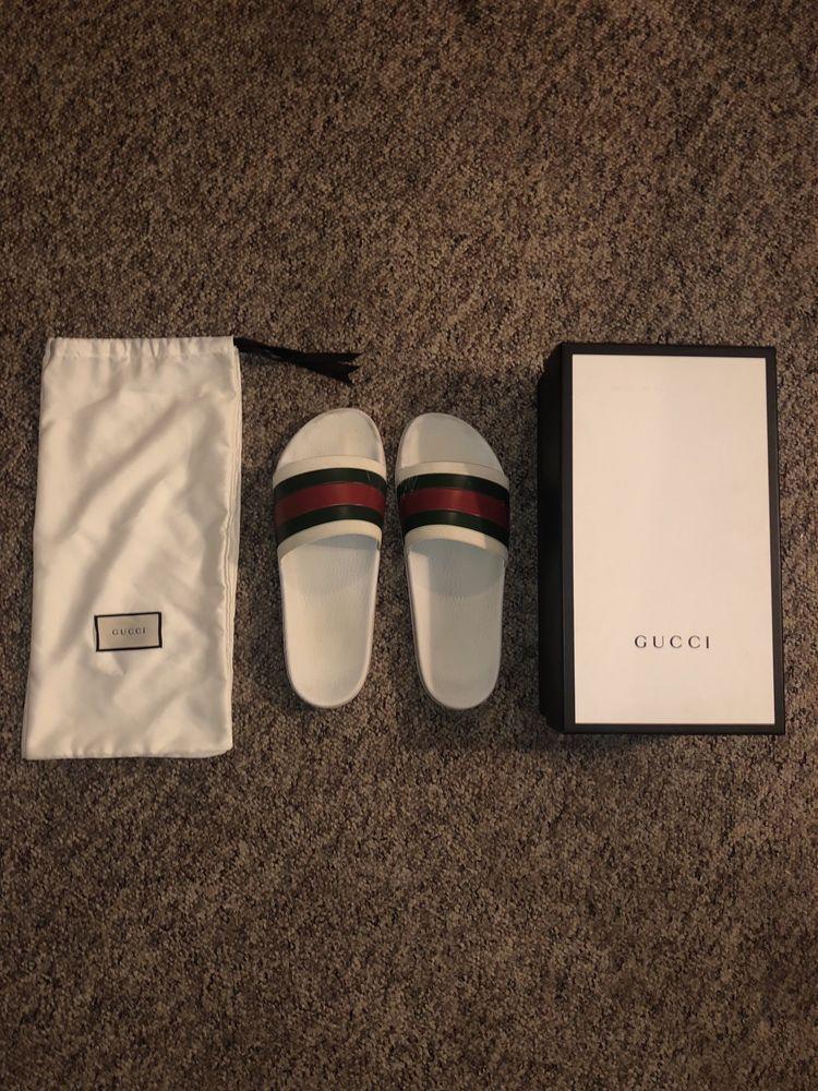 996d214b8 Gucci Pursuit 72 Slides White Mens US Size 13 Sandals Flip Flops  fashion   clothing