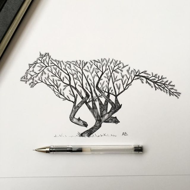 In his latest series of illustrations, Alfred Basha depicts a series of images where animals merge with the natural world: trees sprout into the silhouettes of foxes or squirrels, and a forest landsca