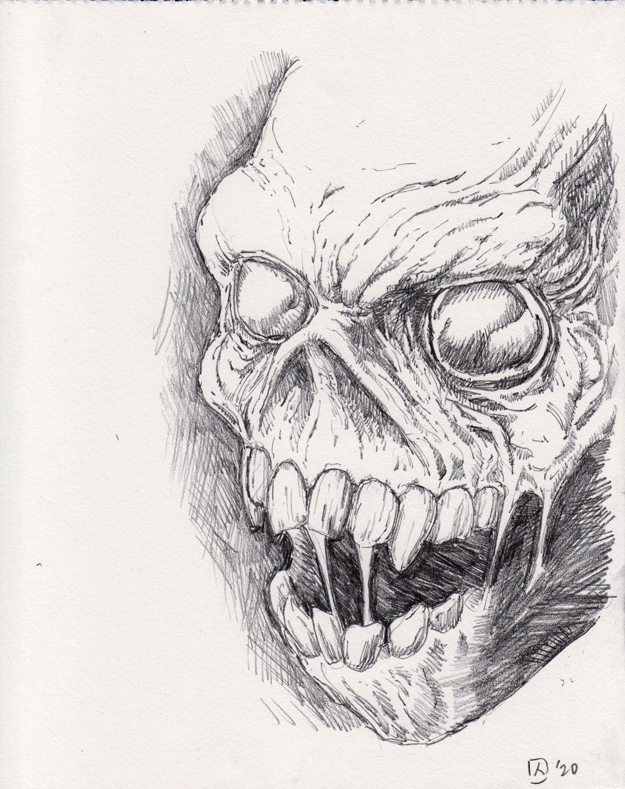 Pencil Original: The Smiling Skull