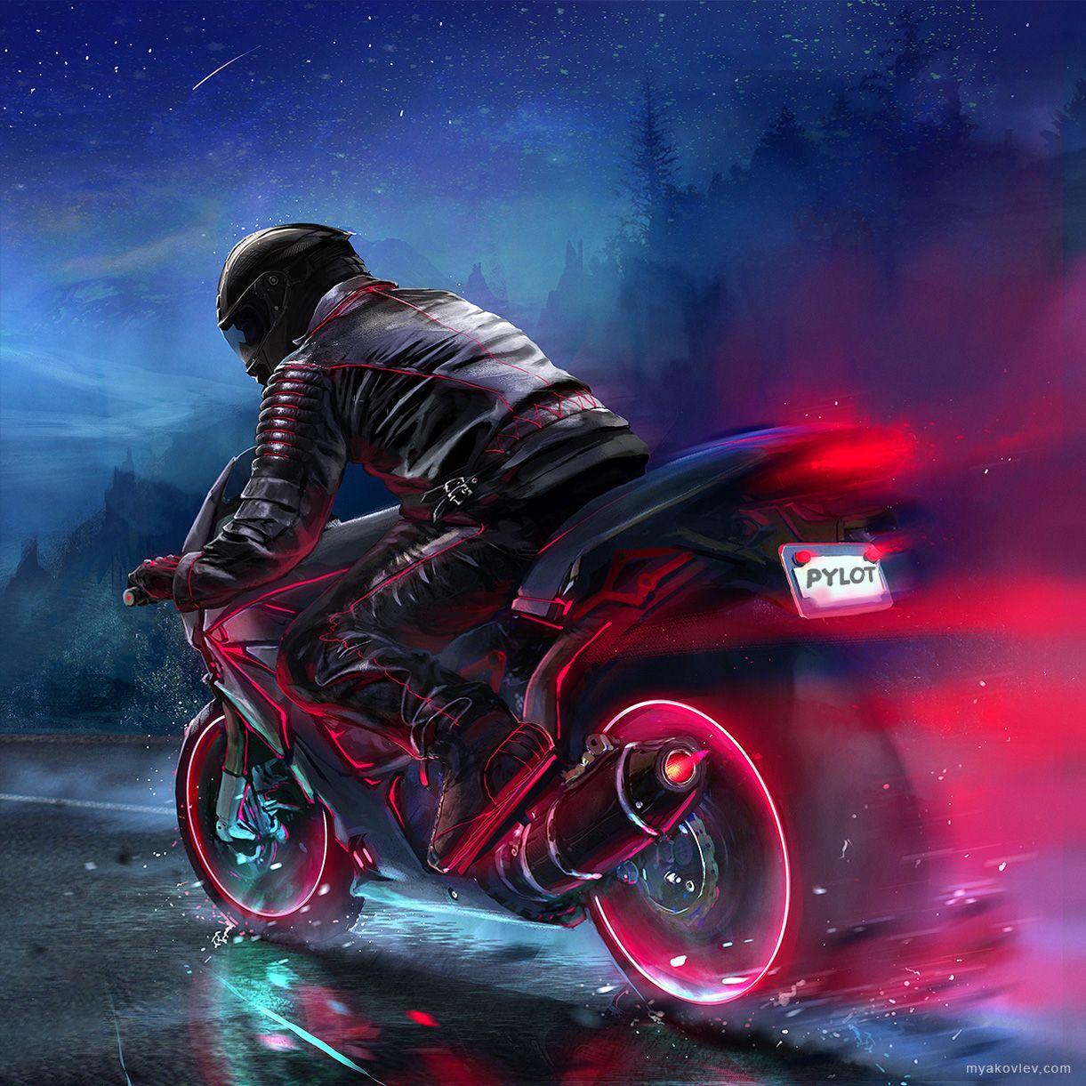 After Dark Digital 1221x1221px Biker Art Motorbike Art Motorcycle Wallpaper