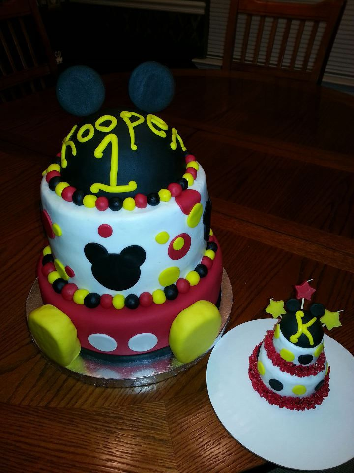 Koopers Mickey Mouse Boys First Birthday Cake and Mini Baby Cake