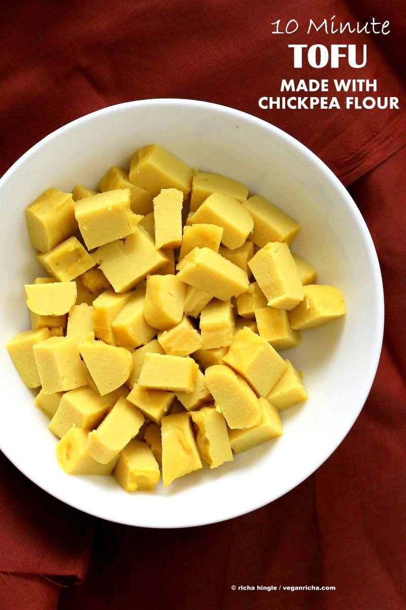 Chickpea Tofu de farine.  10 min Non soja tofu fait avec de la farine de pois chiches ou de Besan farine / gramme.  tofu birman facile.  Vegan Sans gluten sans soja Recette sans noix. |  VeganRicha.com
