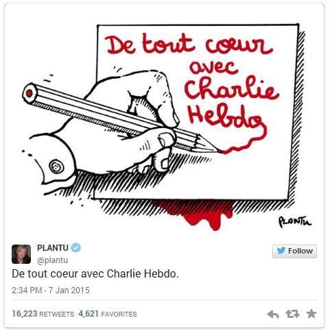 Les internautes rendent hommage aux 4 dessinateurs de #CharlieHebdo assassinés http://bit.ly/1wUQfQr via @Spi0n